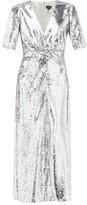 Saloni Eden V-neck Sequinned Dress - Womens - Silver