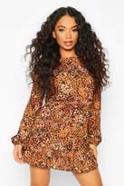 boohoo Petite Woven Leopard Print Frill Hem Skater Dress