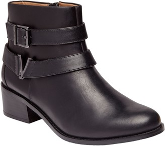 Vionic Leather Stacked-Heel Ankle Boots - Mana