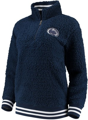 Women's Navy Penn State Nittany Lions Varsity Banded Sherpa Quarter-Zip Pullover Jacket