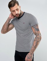 Fred Perry Fine Stripe T-Shirt in Navy