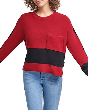 DKNY Colorblocked Pocket Sweater