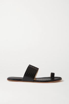 Gabriela Hearst Croc-effect Glossed-leather Sandals - Black