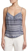 Veronica Beard Silk Multipattern Tank, Blue