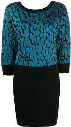 Just Cavalli Leopard-Spot Knitted Dress