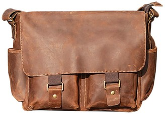 Touri 16'' Genuine Leather Messenger In Vintage Brown