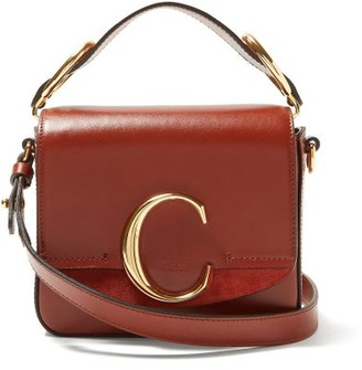 Chloé Mini C Leather And Suede Crossbody Bag - Brown