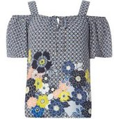 Dorothy Perkins Womens Blue Geometric Floral Border Print Top- Blue