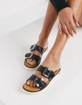 Call it SPRING by ALDO vegan Minians double buckle flat sandals in black croc