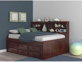 """Birch Laneâ""""¢ Heritage Fulvia Bed with Bookcase and 6 Drawers Birch Lanea Heritage Size: Full, Bed Frame Color: Merlot"""