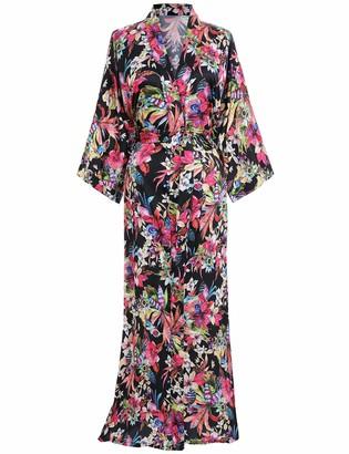 PRODESIGN Charmeuse Satin Kimono Dressing Gown Leaves Floral Pattern Printed Kimono Robe for Women Silk Feeling Kimono Cover Up for Wedding Girl's Bonding Party Pyjamas (Black)