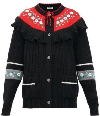 Miu Miu Floral-embroidered Wool Cardigan - Womens - Black Multi