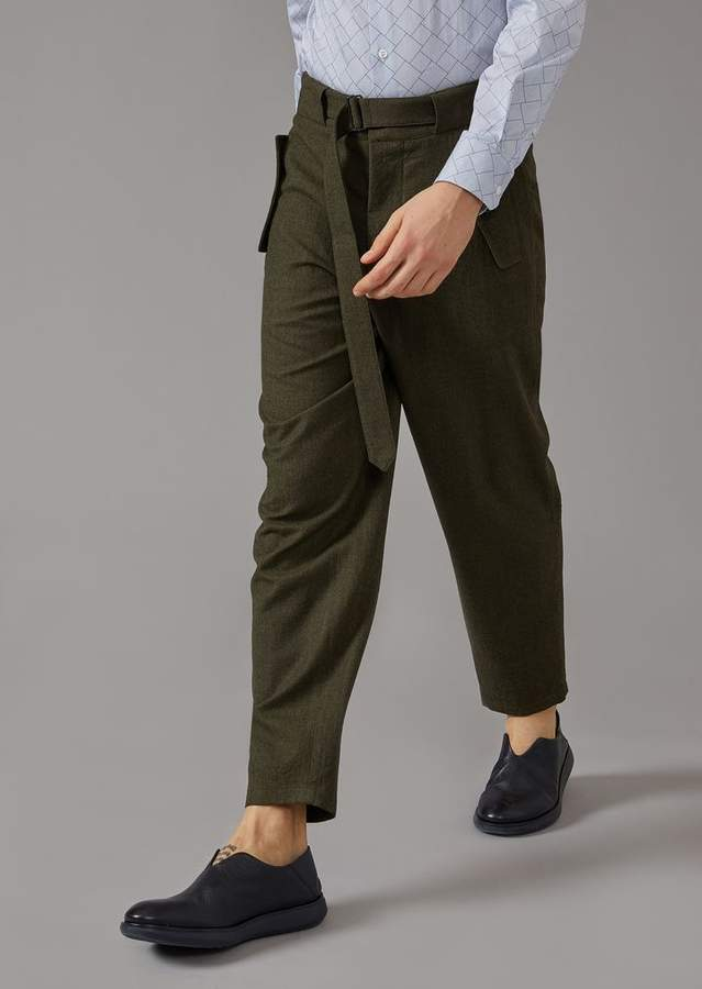 Giorgio Armani Stretch Wool Cavalry Oversized Trousers With Belt