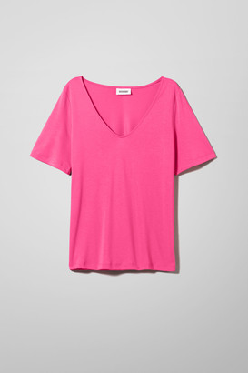 Weekday Abby V Neck T-shirt - Black