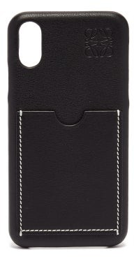 Loewe Anagram-debossed Leather Iphone X Phone Case - Mens - Black