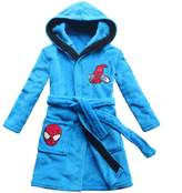 [FEETOO] cartoon spider embroidery pattern boy bathrobe sky children pajamas coral velvet family wear children bathrobe