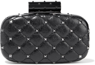 Valentino Rockstud Spike Quilted Leather Clutch