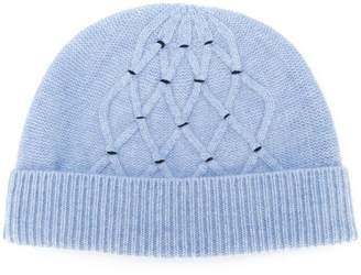 N.Peal lattice-knit beanie hat