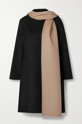 Theory Convertible Draped Two-tone Wool And Cashmere-blend Coat - Black
