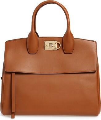 Salvatore Ferragamo Medium The Studio Calfskin Leather Top Handle Bag