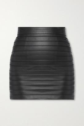 Alessandra Rich Paneled Leather Mini Skirt - Black