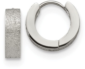 Chisel Stainless Steel Polished and Sand Blasted 4.0mm Hinged Hoop Earrings