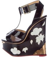Charlotte Olympia Patent Leather Wedge Sandals