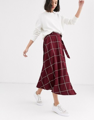NATIVE YOUTH midaxi wrap skirt in grid check