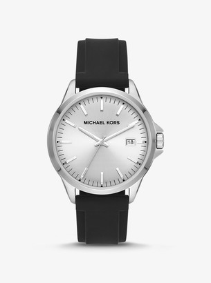 Michael Kors Oversized Penn Silver-Tone and Silicone Watch