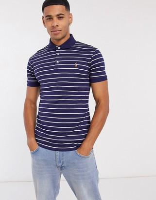 Polo Ralph Lauren stripe multi player logo slim fit pima soft touch polo in navy/white