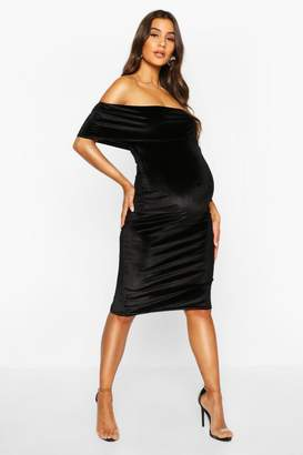boohoo Maternity Double Layer Velvet Bodycon Dress