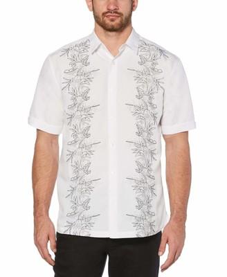 Cubavera Tropical leaves print embroidery shirt
