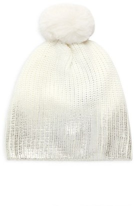 Jocelyn Faux Fur Pom Metallic Ombre Knit Hat