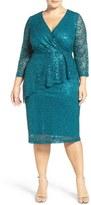 Marina Sequin Lace Faux Wrap Dress (Plus Size)