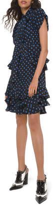 Michael Kors Polka-Dot Ruffled Silk Peplum Shirtdress