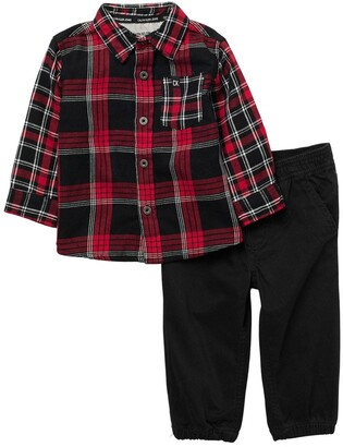Calvin Klein Woven Shirt & Pants 2-Piece Set