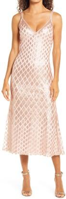 SHO Tadashi Shoji Diamond Sequins Midi Gown