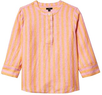 J.Crew Baude Linen Tunic Top in Bold Stripe (Orange/Pink) Women's Clothing