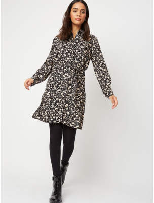 George Black Floral Print Shirt Dress