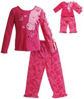 Dollie & Me Girls 4-14 Zebra Pajama Set