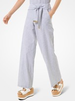 MICHAEL Michael Kors Striped Linen and Cotton Tie-Waist Pants