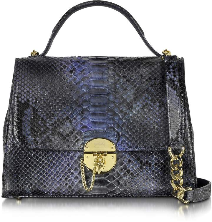 Ghibli Dark Blue Python Satchel Bag w/Detachable Shoulder Strap