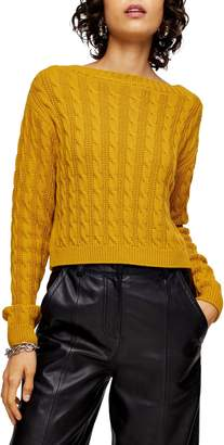 Topshop Mini Cable Crop Sweater