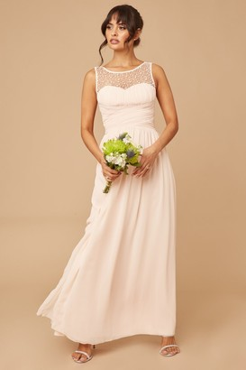 Little Mistress Bridesmaid Grace Nude Embellished Neck Maxi Dress