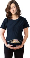 Crazy Dog T-shirts Crazy Dog Tshirts Maternity Peeking Caucasian Baby Girl Bow Cute Pregnancy Tee -S