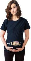 Crazy Dog T-shirts Crazy Dog Tshirts Maternity Peeking Caucasian Baby Girl Bow T-shirt Funny Cute Pregnancy Tee XXL
