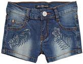 Embellished Stretch Denim Shorts