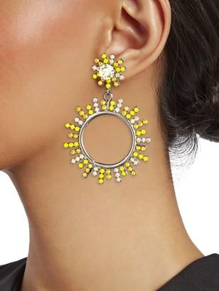 Elizabeth Cole Rays of Sunshine Everly Swarovski & Austrian Crystal Sundial Stone Drop Earrings