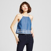 J by J.O.A. Women's Embroidered Cami Denim Blue