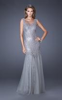 La Femme 19485 Sequined Fitted Lace Appliques Trumpet Gown